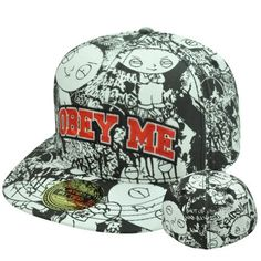 Family Guy Stewie Griffin Obey All Over S/M Flex Fit Hat Cap Flat Bill Stretch by bioworld, http://www.amazon.com/dp/B00D6466JG/ref=cm_sw_r_pi_dp_NHQesb0C7WXGK