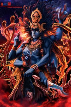 My representation of the Hindu Goddess of Empowerment Kali, a bit gruesome i know but that's how shes usually represented, shes the fi. The Goddess Kali Kali Tattoo, Kali Mata, Tarot, Kali Goddess, Wicca, Shiva Shakti, Hindu Deities, Hindu Art, Indian Gods