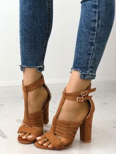 14f4ce8a31 Shop Buckle Design Hollow Out Chunky Heel Sandals right now, get great  deals at Joyshoetique