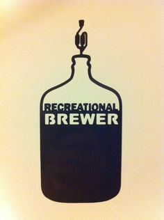 Recreational Brewer Vinyl Sticker Decal in BLACK -- Homebrew Home Brew Homebrewer Brewing HomeBrewing Beer in Carboy $5.99