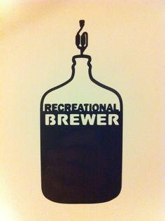 Recreational Brewer Vinyl Sticker Decal in BLACK -- Homebrew Home Brew Homebrewer Brewing HomeBrewing Beer in Carboy $5.99