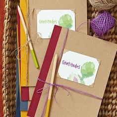 """""""Gratitudes"""" notebooks... obviously a more colourful version for kids, but a nice way to start something at Thanksgiving that we can continue for the whole year!"""