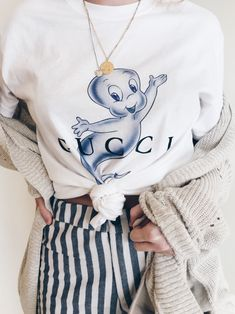 payton hartsell, houston tx, fashion blogger. cute comfy sweater cardigan with a quirky gucci tee shirt featuring caspar the friendly ghost. white and navy blue striped pants from brandy melville. precious mixed metal necklaces!