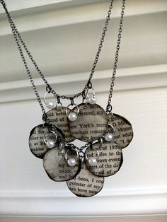 This inspired me to try something similar, only I printed dictionary definitions on a theme, rather than book pages, used copper embossing powder to firm the edges, and Mod Podge rather than glue. It turned out great!! I made a pair of earrings and a matching charm bracelet.