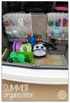 Use a shoe sorter to keep summer essentials organized in your trunk.
