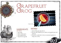 Pirate cocktail recipe - grapefruit grog! Get the free recipe card printable at http://www.perfectpartyuk.com/theme-guides/pirates/drinks/