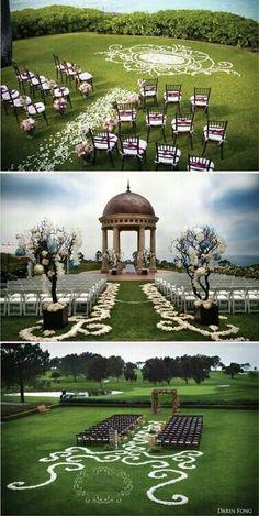 Floral details on ground for wedding ceremony