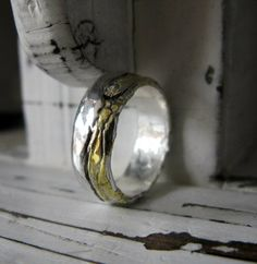 Landscape Ring Band Bimetal by HotRoxCustomJewelry on Etsy, $280.00