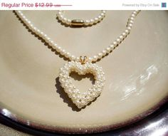 On Sale Vintage Pearl heart necklace 20 by PaganCellarJewelry, $10.39