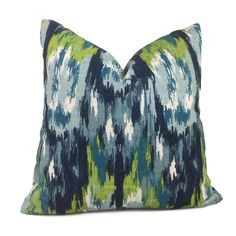 Monteverde Blue Green Abstract Ikat Cotton Print Pillow Cover - Fits 22x22 insert (20.5x20.5 cover)