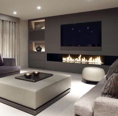 In case you are tired of your old same living room design here are 10 Ways To Redesign Your Modern Living Room! Living Room Tv, Living Room With Fireplace, Living Room Interior, Home Interior Design, Home And Living, Modern Living, Small Living, Fireplace Tv Wall, Tv Wall Ideas Living Room
