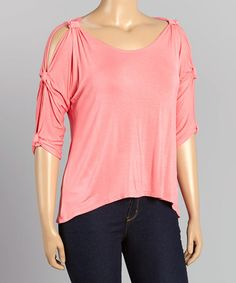 This Pink Cutout Sleeve Top - Plus is perfect! #zulilyfinds