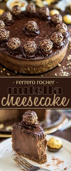 Devilishly rich, creamy, smooth and velvety. just one bite of this Ferrero… Devilishly rich, creamy, smooth and velvety. just one bite of this Ferrero Rocher Nutella Cheesecake will send you straight to seventh heaven! Just Desserts, Delicious Desserts, Dessert Recipes, Yummy Food, Dinner Recipes, Nutella Recipes, Desserts Nutella, Nutella Cake, Chocolate Recipes