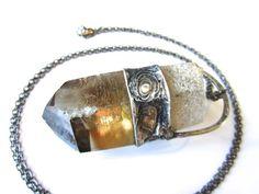 helios  natural citrine pendant  raw crystal by callistojewelry