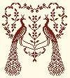 peacocks monochrome cross stitch free chart