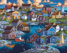 Peggy's Cove by Eric Dowdle - This fishing village in Nova Scotia was founded in 1811 by six families of german descent. Located on the eastern shore of St. Margarets Bay, the area is know for its rugged and rocky terrain. In Eric's painting of Peggy's Cove, brightly painted wooden buildings dot the peninsula where villagers enjoy their spoils of fish and lobster.