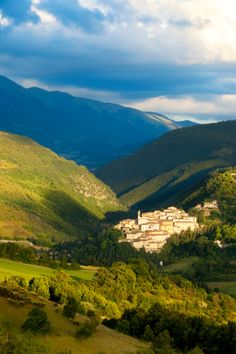 Medieval town of Preci in Valnerina, Monti Sibillini National Park, Umbria, Italy