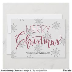 Rustic Merry Christmas script business corporate Holiday Card Corporate Christmas Cards, Unique Office Supplies, Snowflake Pattern, Rustic Elegance, Winter Holidays, Red Christmas, Paper Texture, Script, Stationery