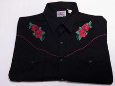 Ely Diamond XXL American Rose Black Men's Western Pearl Snap Short Sleeve 2XL #ElyDiamond #Western
