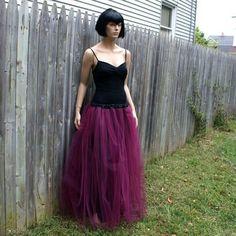 Burgundy Wine Formal Prom Tulle Skirt  by MTcoffinzUnderground, $80.00