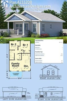 Architectural Designs Cozy 2 Bed Tiny House Plan gives you 682 square feet of heated living space plus a covered porch perfect for your rocking chair. Ready when you are. Where do YOU want to build? Cottage House Plans, Small House Plans, Cottage Homes, House Floor Plans, Tiny Home Floor Plans, Architecture Design, Plans Architecture, Architecture Panel, The Plan