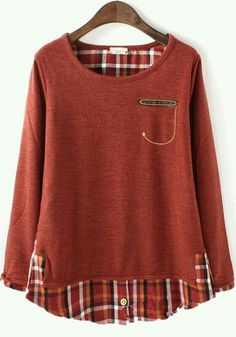 Combination of plaid shirt and pullover sewing clothes, diy clothes, refashioned clothes, flannel Diy Clothing, Sewing Clothes, Vetements Clothing, Diy Kleidung, Diy Vetement, Altered Couture, Altering Clothes, Refashioning, Diy Fashion
