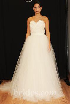Brides: Sarah Jassir - Fall 2013. Strapless tulle ball gown wedding dress with a sweetheart neckline, Sarah Jassir