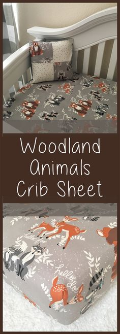 I love this woodland animals crib sheet! Woodlandis such a cute nursery theme. It's really gender neutral! This would make a perfect baby shower gift, too. #genderneutralnursery #woodlandnursery #nurseryinspiration #babyshowergift #etsy #ad