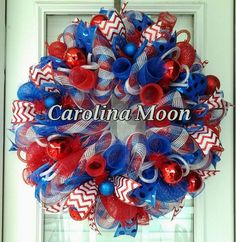 4th of July Deco Mesh Wreath Red White and by CarolinaMoonDecor, $50.00