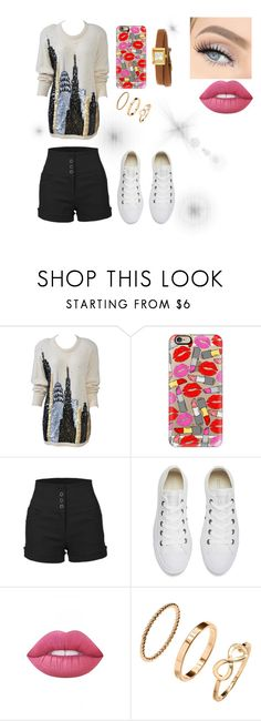 """""""Welcome to New York"""" by annie-travers ❤ liked on Polyvore featuring Casetify, LE3NO, Converse, Lime Crime, H&M and Gucci"""