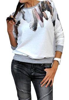 Nanquan Women Letter Print One Shoulder Long Sleeve Loose Fit Blouse T-Shirt Tops