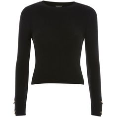 Topshop Ring Detail Sleeve Cropped Jumper (£24) ❤ liked on Polyvore featuring tops, sweaters, black, cropped jumper, long-sleeve crop tops, topshop jumpers, cropped sweater and cotton jumper