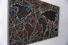 Lace map world map stringart - Handmade Everything String Wall Art, Nail String Art, Diy Home Crafts, Diy Crafts To Sell, Arts And Crafts, Map Wall Decor, Wall Painting Decor, String Art Patterns, Creation Deco