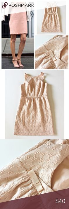 """Ann Taylor blush/taupe sheath dress Loving this style idea! Ann Taylor polka dot textured sheath dress in a beautiful blush taupe! Size 6P, fits a regular very nicely! Plunging back side with cute bow detail as seen on photos. Measures 18"""" UA to UA, length is 34"""", lined. Ann Taylor Dresses"""