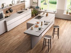 Trendy Home Rustic Kitchen Cabinet Colors Ideas Kitchen Island Lighting Modern, Kitchen Island With Seating, Modern Kitchen Design, Rustic Kitchen Cabinets, Kitchen Cabinet Colors, Kitchen Decor, Shabby Chic Kitchen, Cuisines Design, Trendy Home