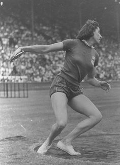 French discus thrower Micheline Ostermeyer, 1948 London Olympics.