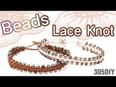 [305DIY]비즈 레이스매듭 팔찌만들기,friendship seed beads lace knot bracelets DIY tut...