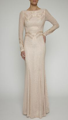 Vivienne Long Sleeve Gown by Rachel Gilbert (AUD $995.00) - The Vivienne Gown is a floor length gown with jewel neckline, bodice embellishment and chiffon detail.  Available in long sleeves as shown
