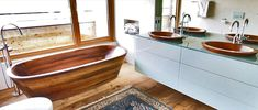 Laguna Luxus Line Wood Tub, Wood Bathtub, Clawfoot Bathtub, Woodworking, Interior Design, Bathroom, Soaking Tubs, Madeira, Sinks