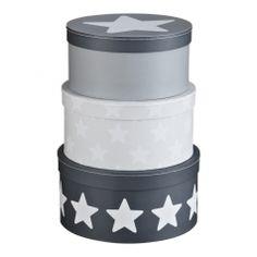 Pappboxen 'Sterne' grau rund 3er Set, Babyzimmer grau, Junge