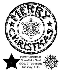 Merry Christmas Snowflake Seal Clear Stamps by Technique Tuesday - Two Peas in a Bucket