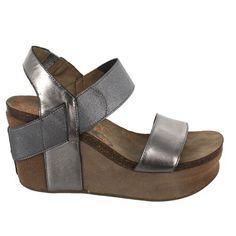 OTBT Women's Bushnell Wedge Sandal,Dark Silver,9.5 M US