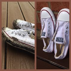 How to clean dirty white converse! Found this on YouTube, it works so well! I got them covered in mud as you can see and there is not a trace at all! I mixed water, laundry detergent, and baking soda together and poured it on them a couple of times, them I scrubbed them really good and washed them off. Amazing:))