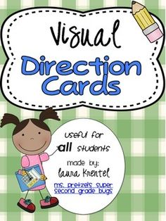 Visual Direction Cards for the Classroom by Laura Lit Lab Cue Cards, Visual Cue, Following Directions, Therapy Ideas, Classroom Management, Esl, Special Education, Markers, Kindergarten