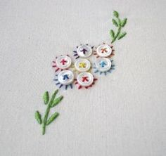 stitchinisbitchin:  It has buttons too..I love buttons. by audra Hand Embroidery Stitches, Hand Embroidery Designs, Embroidery Applique, Cross Stitch Embroidery, Embroidery Patterns, Flower Embroidery, Embroidered Flowers, Simple Embroidery, Pearl Embroidery
