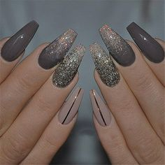 In search for some nail designs and some ideas for your nails? Listed here is our listing of must-try coffin acrylic nails for cool women. Cute Acrylic Nails, Acrylic Nail Designs, Cute Nails, Nail Art Designs, Dark Nail Designs, New Years Nail Designs, Acrylic Nails Coffin Glitter, Fancy Nails, Nail Harmony