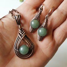 Aventurine wire jewelry set green aventurine necklace copper