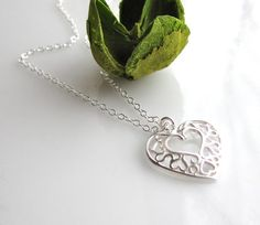 Valentines Necklace ,All 925 Sterling Silver by cocowagner.