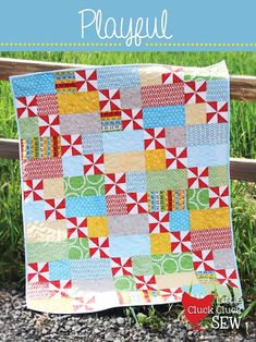 Playful Quilt Pattern - New Little Pattern by Cluck Cluck Sew - Size x - Beginner Friendly Pattern Pinwheel Quilt Pattern, Baby Quilt Patterns, Pattern Paper, Pdf Patterns, Quilting Patterns, Quilt Baby, Scrappy Quilts, Easy Quilts, Quilting Projects