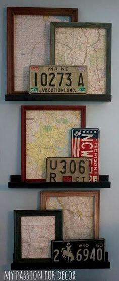 Framed maps and license plate art, a nice way to remember all of those family road trips. License Plate Crafts, License Plate Art, License Plate Ideas, Ideas Prácticas, Room Ideas, Ideas Para Organizar, Framed Maps, Do It Yourself Home, Map Art
